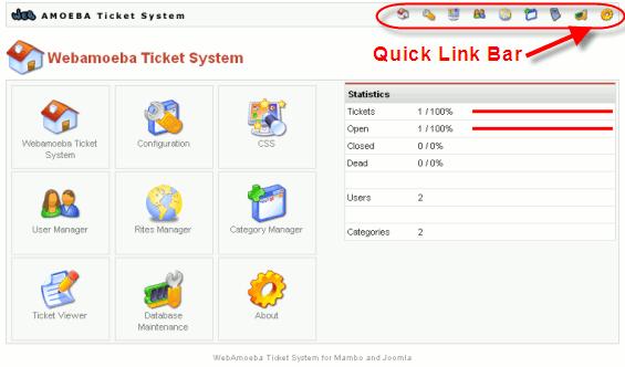 Joomla Webamoeba Ticket System Control Panel