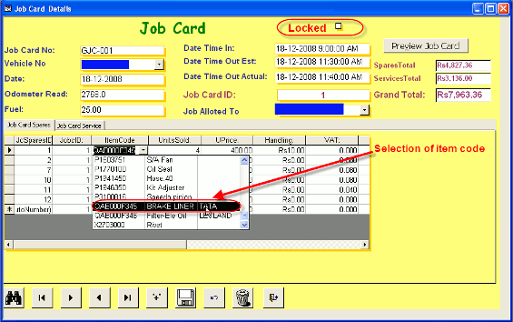 Automobile Service Station Management Software Inventory