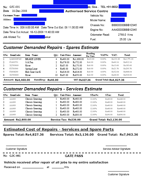 sample invoice for software services